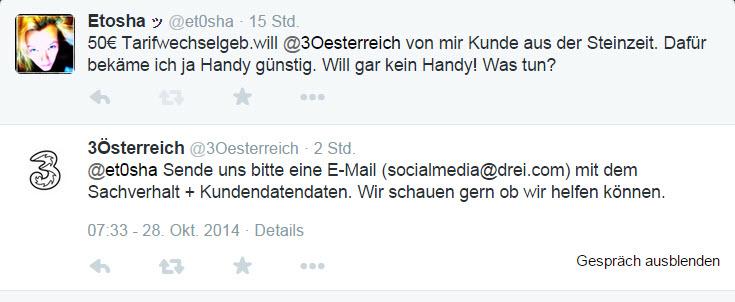 Drei Österreich Tarif- und Tweetwechsel